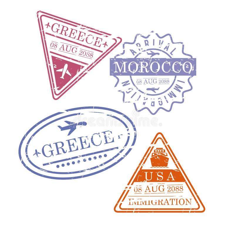 飞机旅行盖印希腊五颜六色的剪影的摩洛哥美国 向量例证