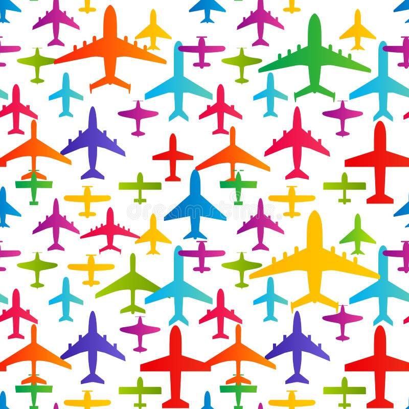 飞机无缝的背景 飞机运输五颜六色的样式模板 航空传染媒介反复性的纹理 库存例证