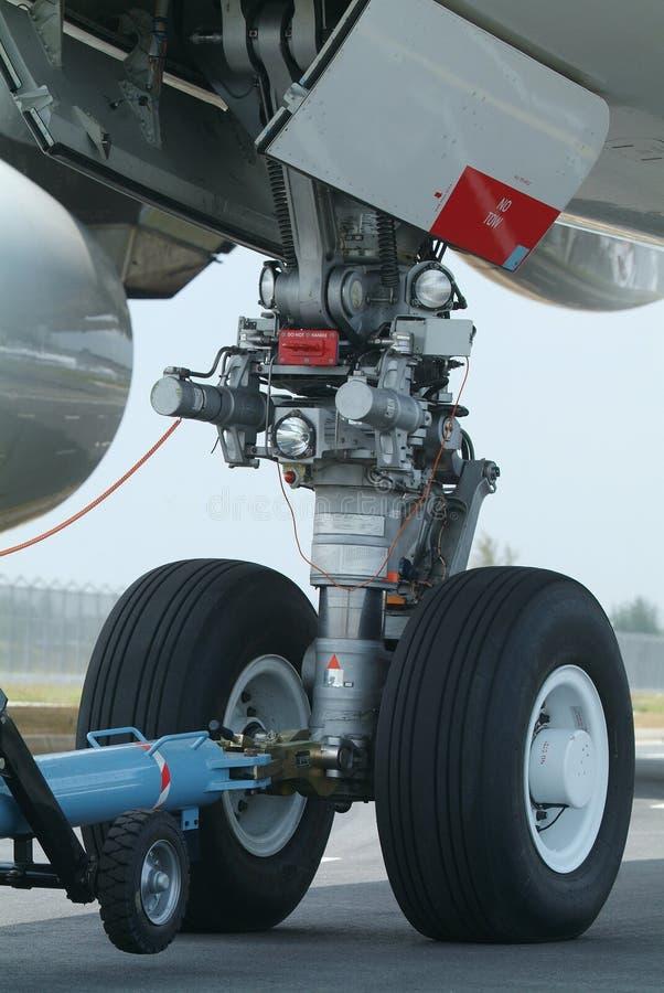 飞机机体宽前轮 库存图片