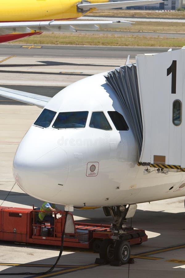飞机机场通道乘客 库存图片