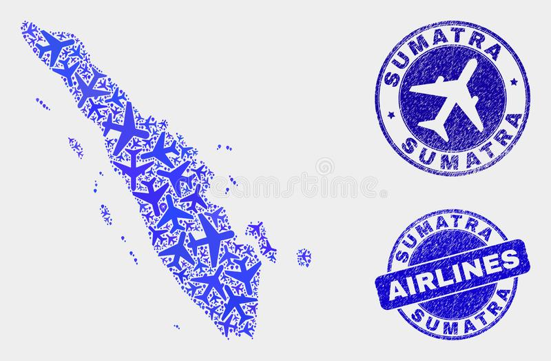 飞机构成传染媒介苏门答腊地图和难看的东西邮票 库存例证