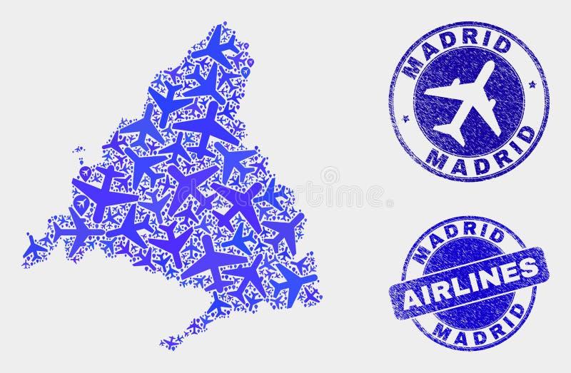 飞机构成传染媒介马德里省地图和难看的东西邮票 库存例证