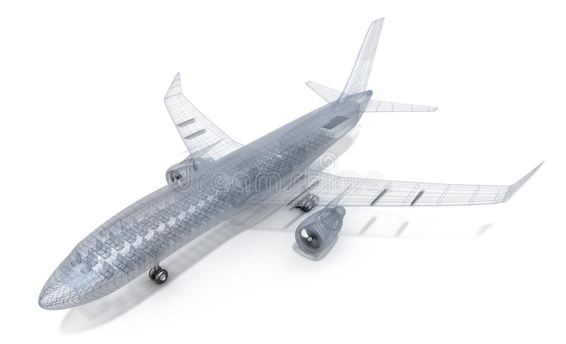飞机查出的模型空白电汇 库存例证
