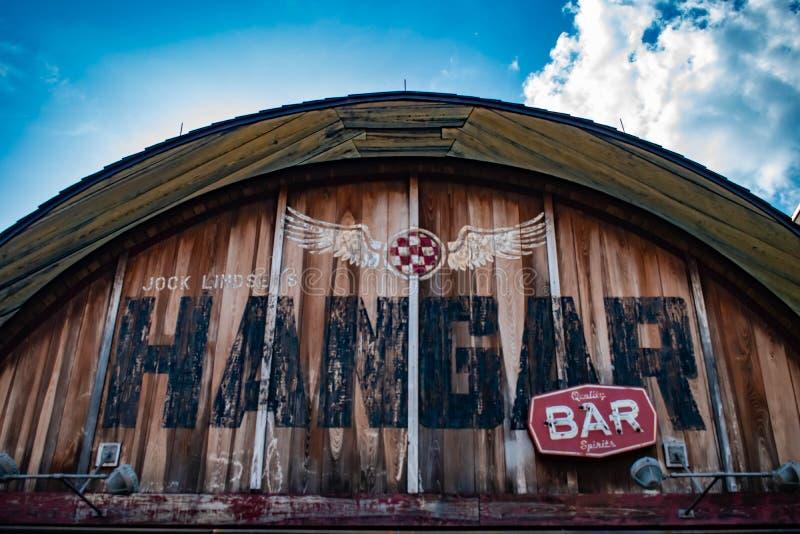 飞机棚酒吧顶视图在迪斯尼春天在布埃纳文图拉湖 库存图片