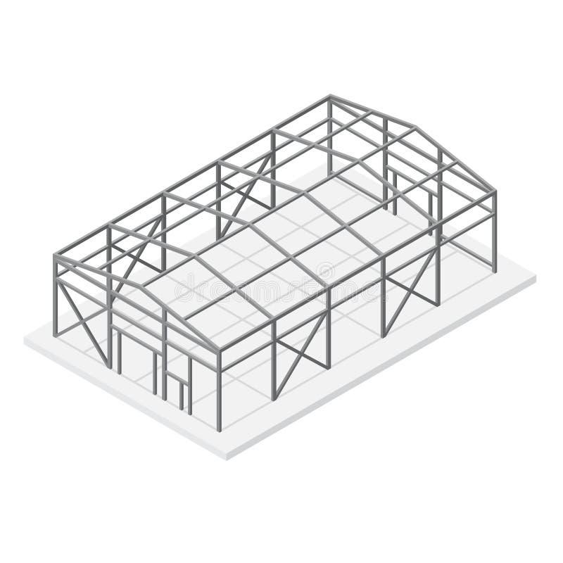 飞机棚金属框架等轴测图 向量 向量例证