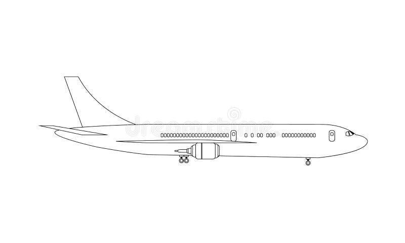 飞机画与线对高详细的侧视图嘲笑 被说明的传染媒介 库存例证