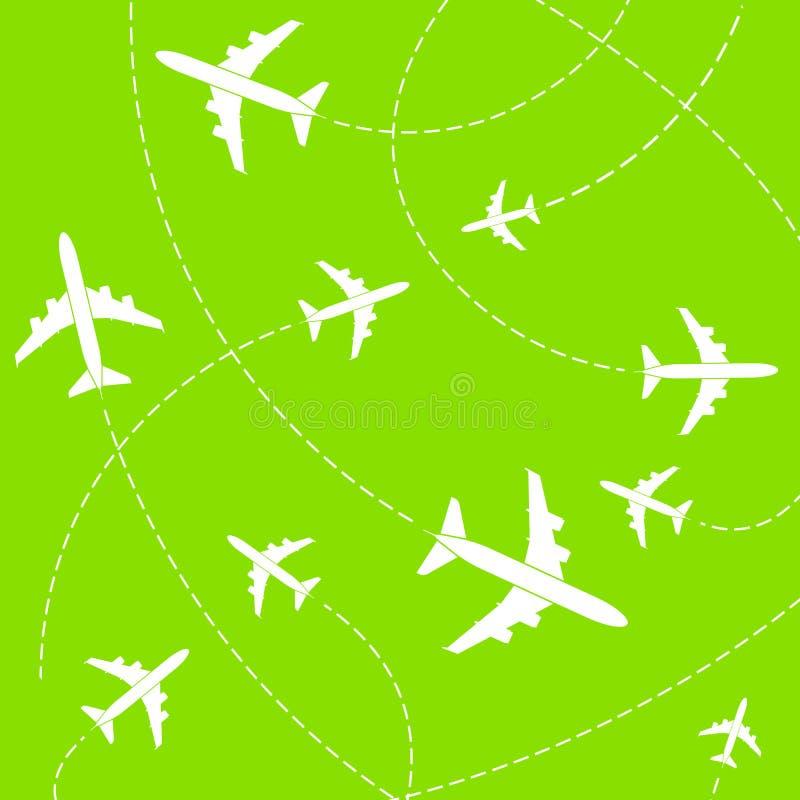 飞机的创造性的传染媒介例证有在背景隔绝的该死的道路线的 艺术设计飞机天空路线 向量例证