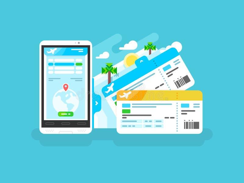 飞机的票在智能手机 皇族释放例证