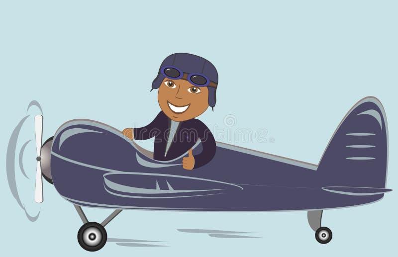 飞机的美国黑人的飞行员 向量例证