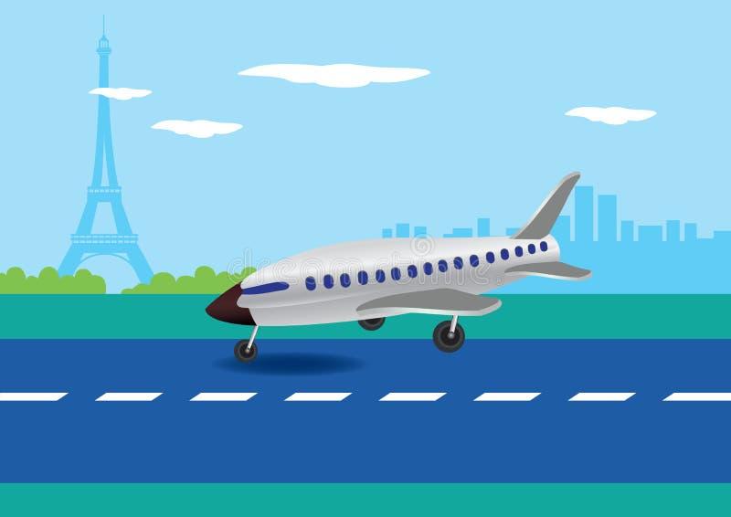 飞机着陆在巴黎,法国传染媒介例证 向量例证