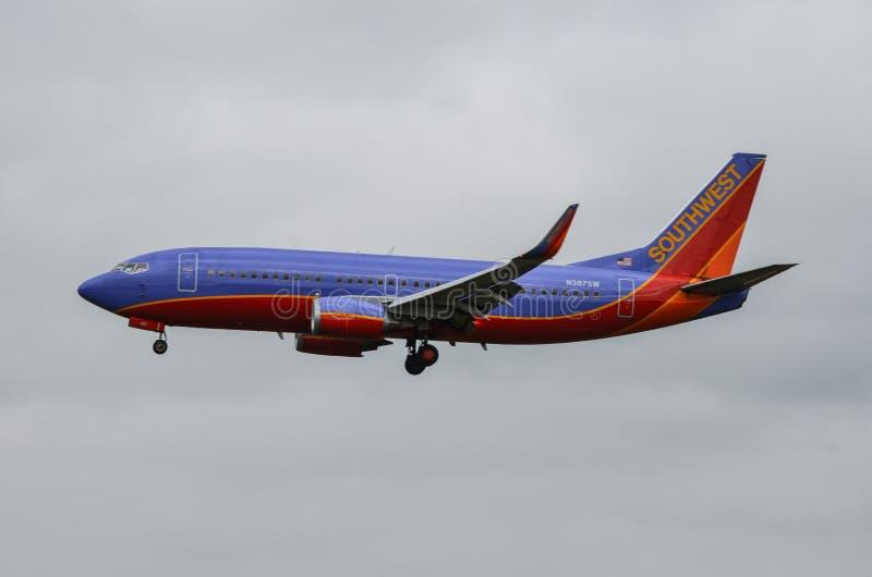 飞机着陆(SothWest航空公司) 库存照片