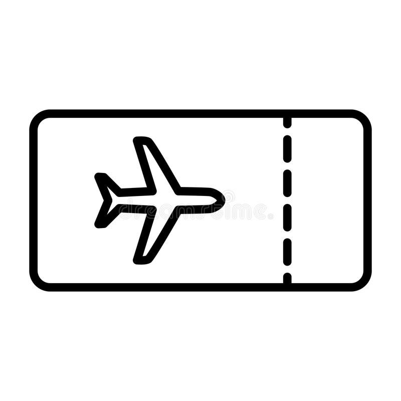 飞机票线象 传染媒介简单的最小的96x96图表 向量例证