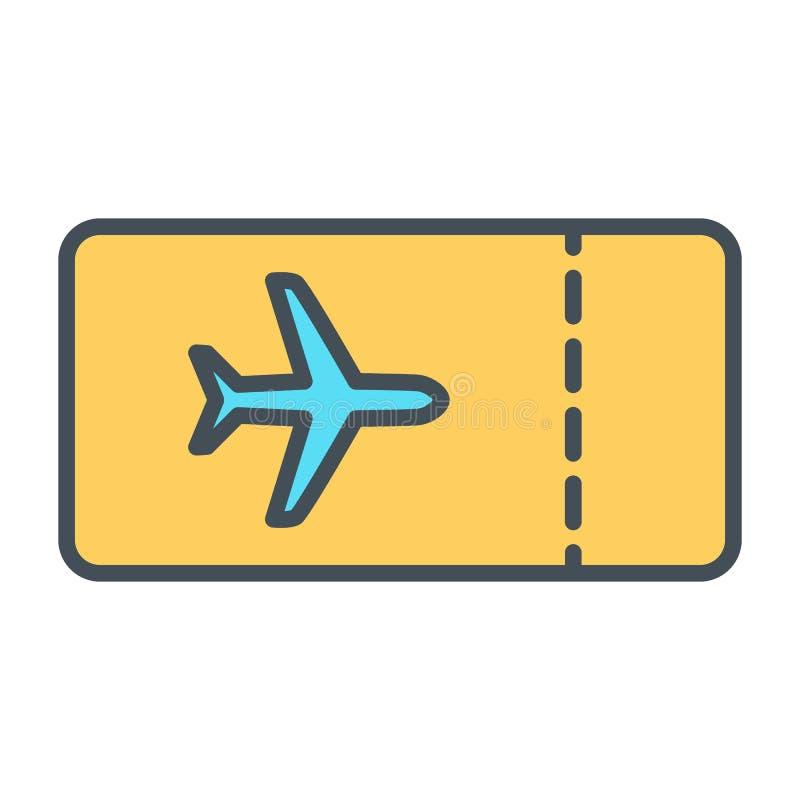 飞机票线象 传染媒介简单的最小的96x96图表 库存例证