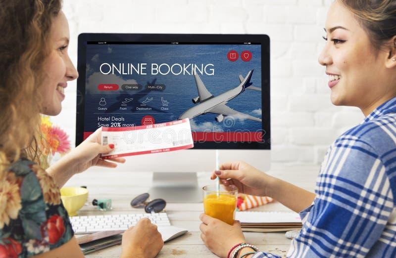 飞机票飞行售票概念 免版税图库摄影