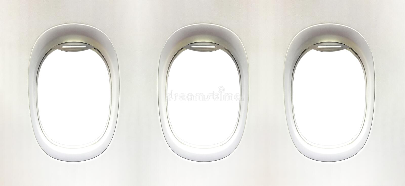飞机窗口和空间您的设计的, 3平面窗口, clipp 免版税图库摄影