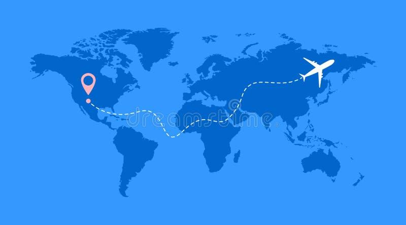 飞机线空中飞机与起动点的航线传染媒介象和线路跟踪程序或表 库存例证
