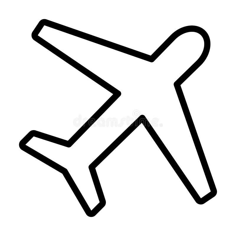 飞机线象 在概述样式的平面标志 向量 向量例证