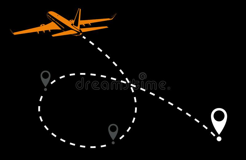 飞机线道路空中飞机与st的航线传染媒介象  向量例证