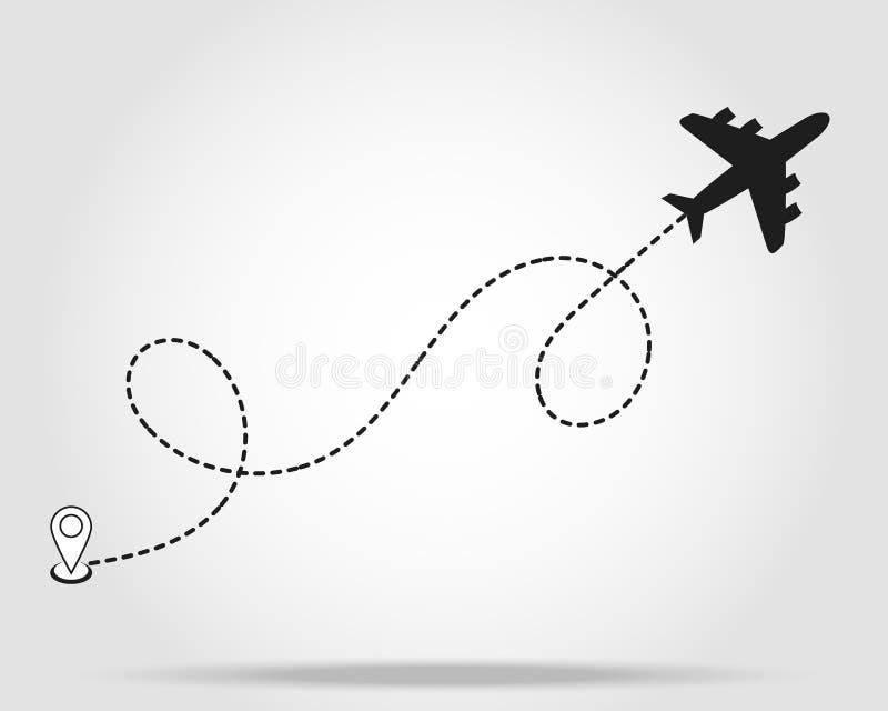 飞机线道路起动点传染媒介象和空气旅行或旅行的破折号线路跟踪程序或表 向量例证
