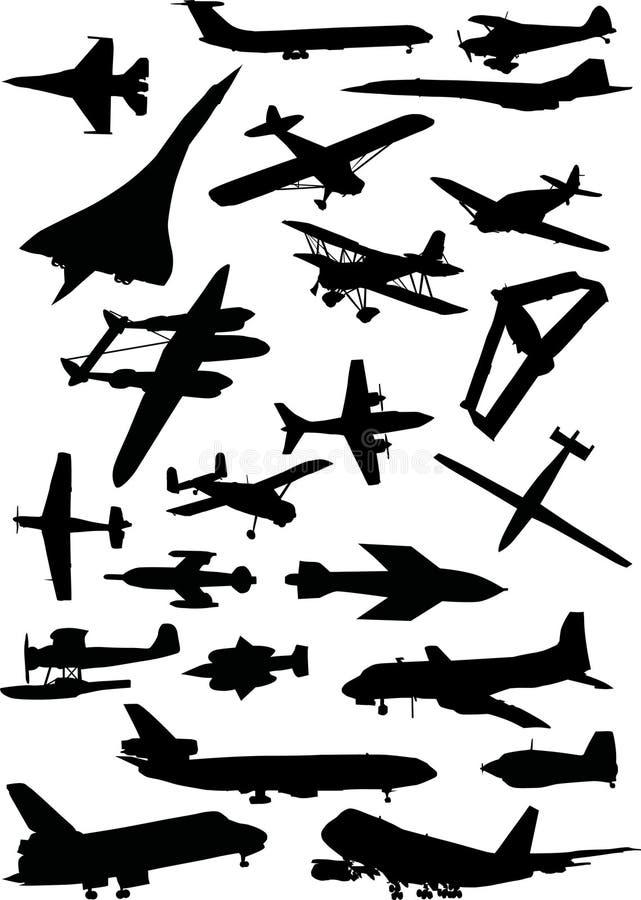 飞机被设置的剪影 皇族释放例证