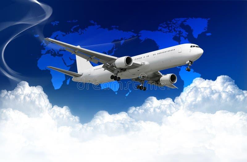 飞机覆盖映射世界 库存照片