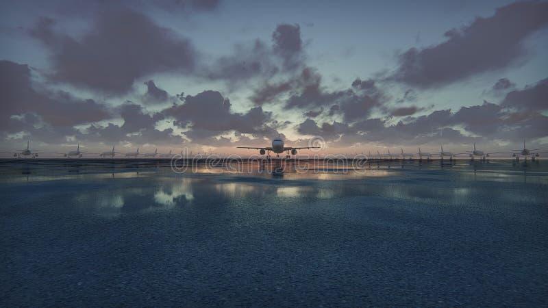 飞机起飞在慢动作的日落背景 3d翻译 库存照片