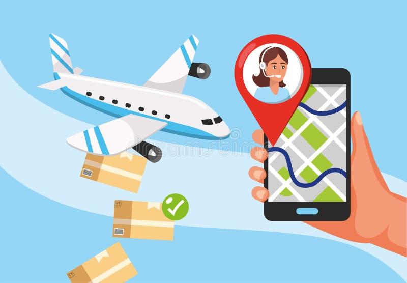 飞机运输和手有gps地点和电话中心服务的 库存例证