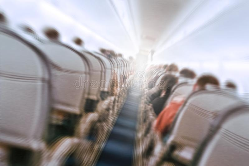 飞机震动在动荡飞行期间通过气孔 图库摄影