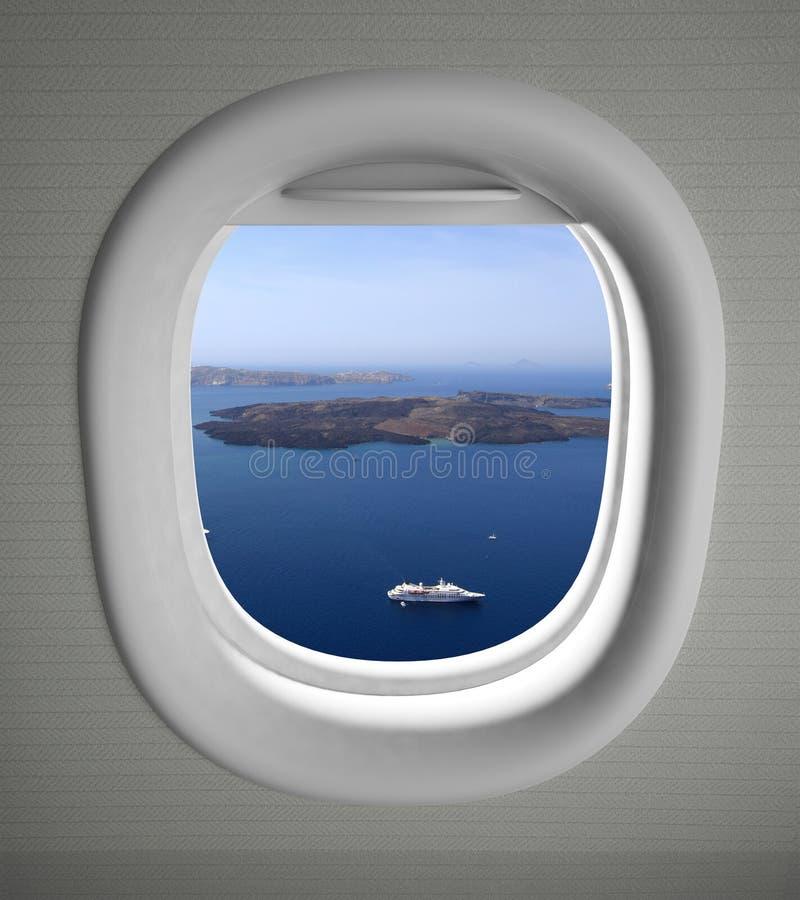 飞机靠窗座位视图 免版税库存照片