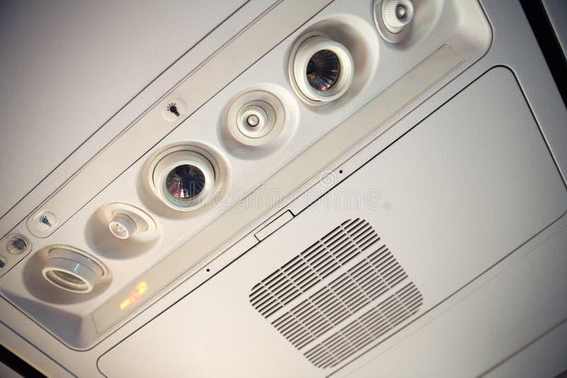 飞机顶上的控制台 免版税库存照片