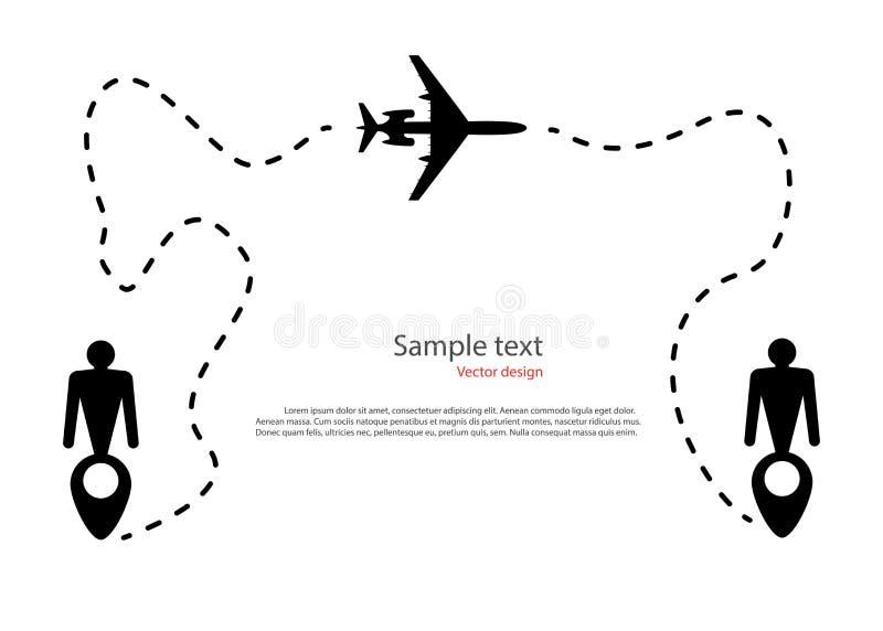 飞机飞行运动,弹道,路线虚线的剪影 以象人,目的地的形式地图Pin 库存例证