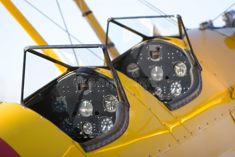 飞机驾驶舱葡萄酒 免版税库存图片