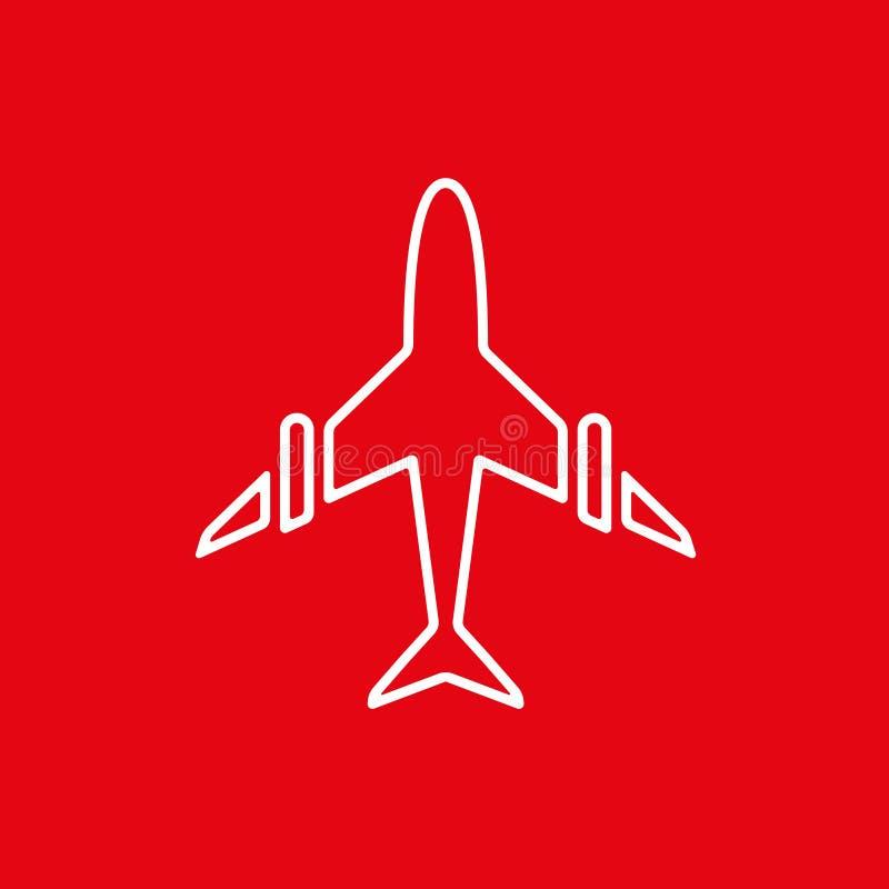 飞机,在红色背景传染媒介例证的飞机象  向量例证