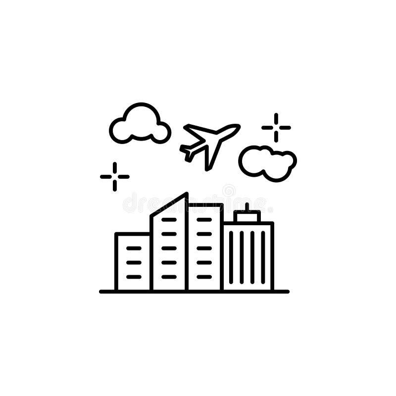 飞机,大厦,飞行象 机场线颜色象的元素 皇族释放例证