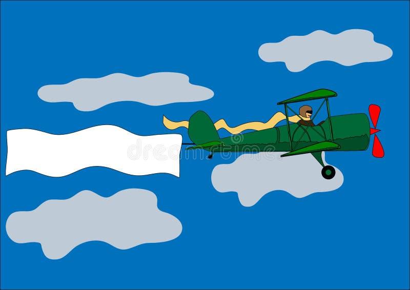飞机,横幅,双翼飞机,向量例证 库存例证
