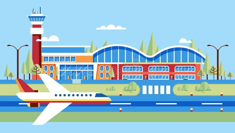 飞机,简易机场,飞行的大机场,旅行,在平的样式的商务旅游 皇族释放例证