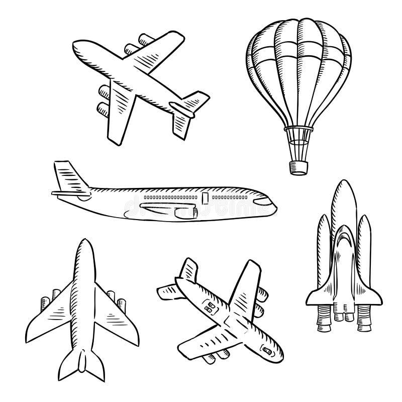 飞机,航天飞机,热空气气球剪影 向量例证