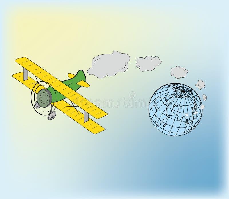 飞机,远离地球的飞行 旅行天、传染媒介艺术和例证的概念 皇族释放例证