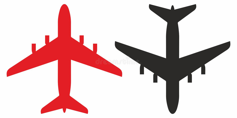 飞机,飞机的轮廓 矢量图标 皇族释放例证