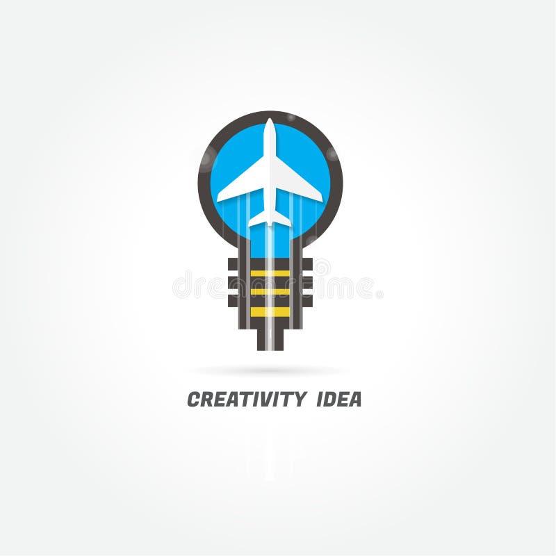 飞机 创造性想法 徽标 现代的设计 也corel凹道例证向量 向量例证