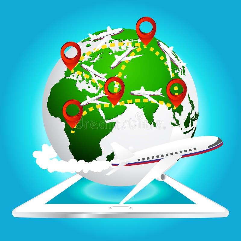 飞机移动环球与在片剂,美国航空航天局装备的地球地图的元素的别针象 向量例证