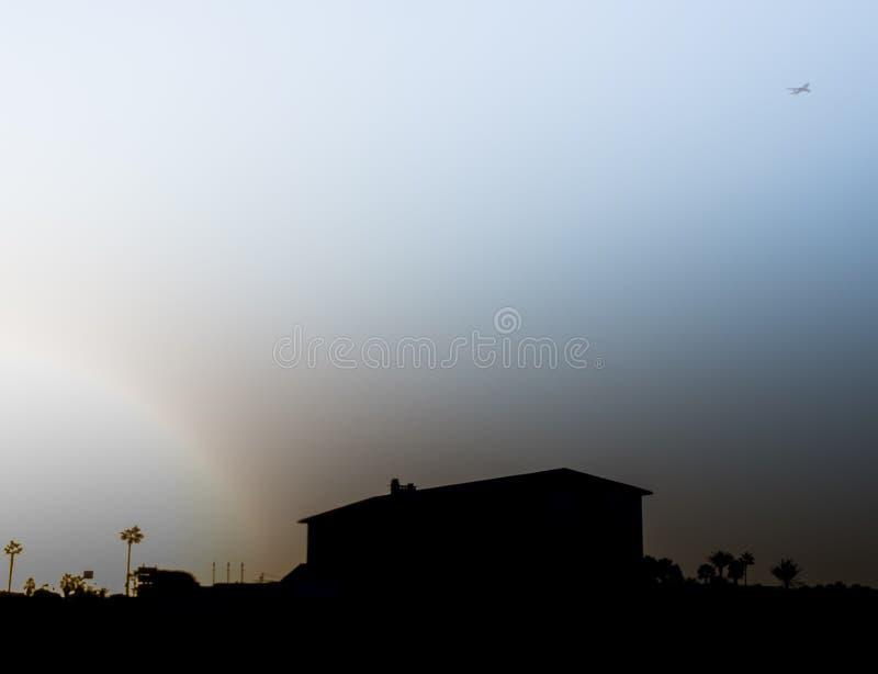 飞机从太阳逃脱在以色列 库存图片