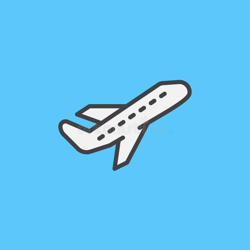 飞机离开被填装的概述象,线传染媒介标志,平的五颜六色的图表 离开标志,商标例证 向量例证