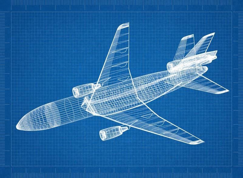 飞机3D图纸 向量例证