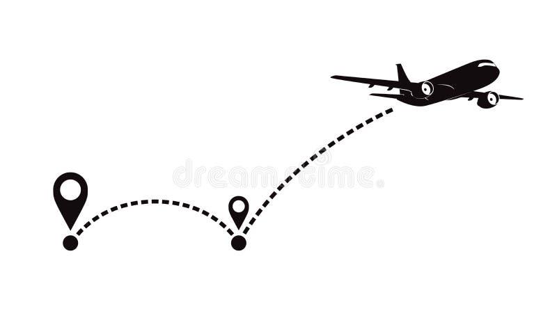 飞机fligth路线或空中飞机目的地线道路 皇族释放例证