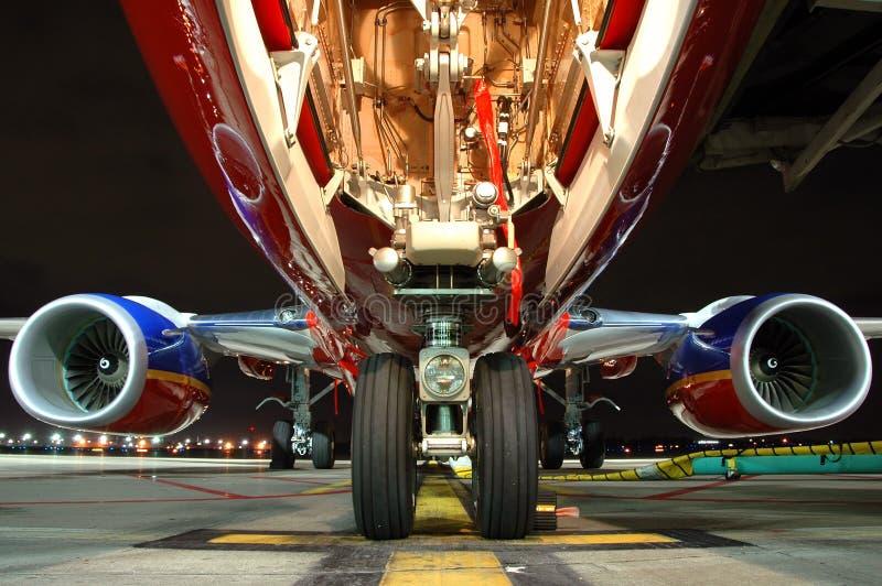 飞机gea着陆视图 免版税图库摄影