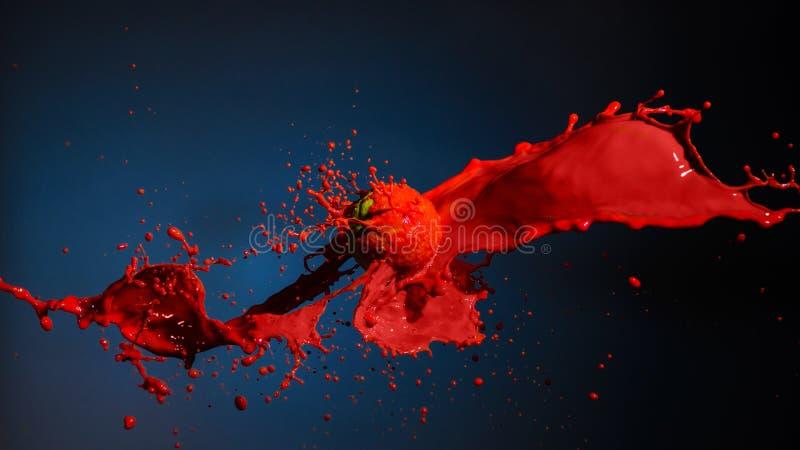 飞溅与球的红色油漆在蓝色 库存照片