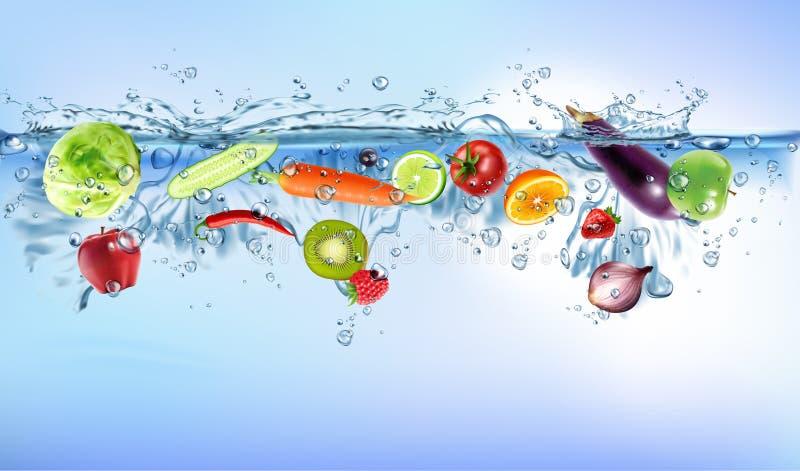 飞溅入蓝色清楚的水飞溅健康食品饮食生气勃勃概念被隔绝的白色背景的新鲜蔬菜 ??V 库存例证