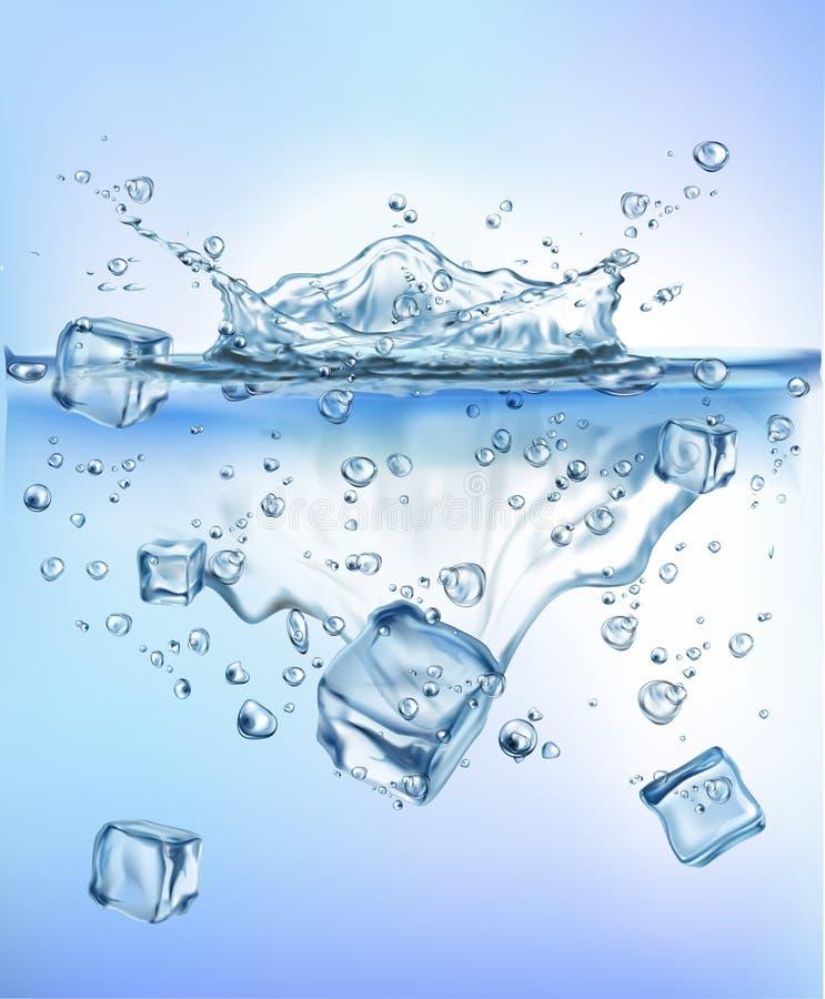 飞溅冰的新鲜蔬菜入蓝色清楚的水飞溅健康食品饮食生气勃勃概念被隔绝的白色背景 皇族释放例证