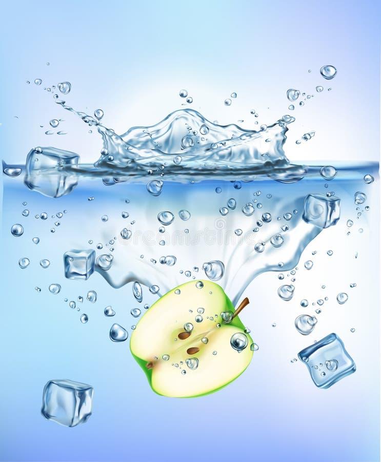 飞溅冰的新鲜蔬菜入蓝色清楚的水飞溅健康食品饮食生气勃勃概念被隔绝的白色背景 库存例证